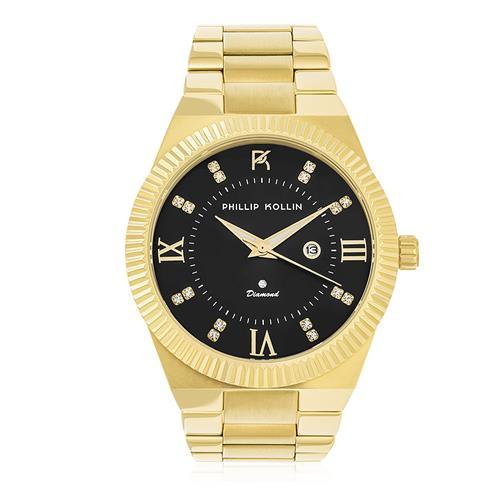 Relógio Feminino Phillip Kollin St. Maarten Royalty Gold Black ZY28056U Fundo Preto