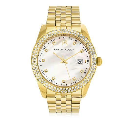 Relógio Feminino Phillip Kollin Malta Pearl Gold White ZY28074H Fundo Madrepérola