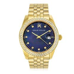 Relógio Feminino Phillip Kollin Malta Pearl Gold Blue ZY28074A Fundo Azul