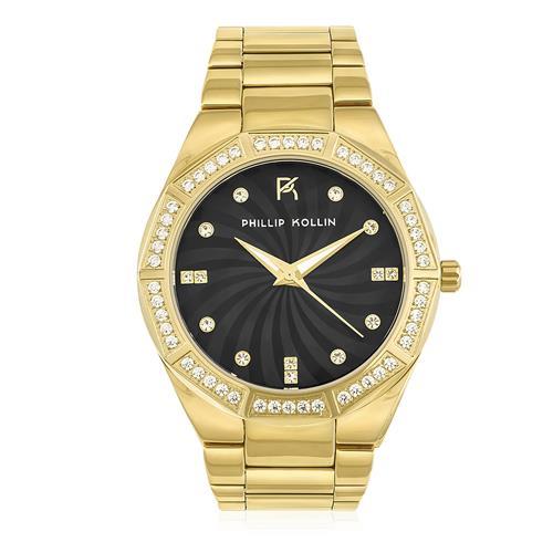 Relógio Feminino Phillip Kollin Malta Gold Black ZY28092U Fundo Preto