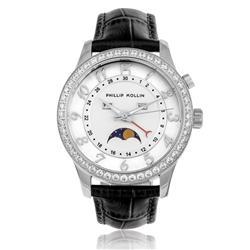 Relógio Feminino Phillip Kollin Cartagena Silver ZY28118Q Couro