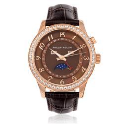 Relógio Feminino Phillip Kollin Cartagena Rose ZY28118R Couro