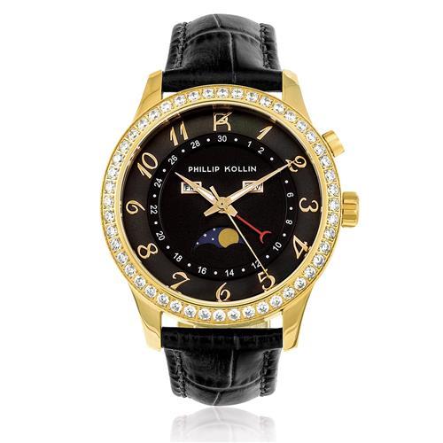Relógio Feminino Phillip Kollin Cartagena Gold ZY28118U Couro