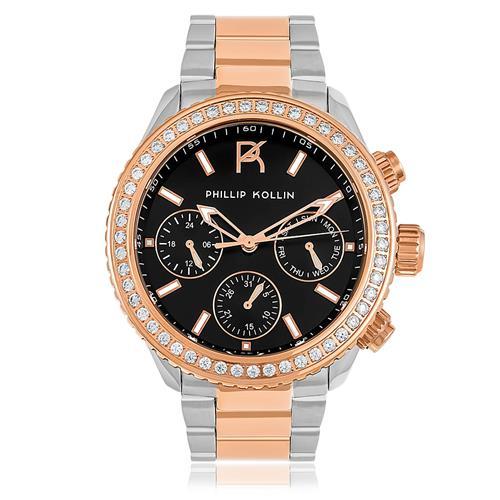 Relógio Feminino Phillip Monte Carlo Mixed Rose ZY28145P Fundo Preto