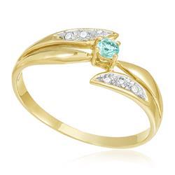 Anel com Diamantes totalizando 10 pts. e Turmalina Paraíba de 20 pts., em Ouro Amarelo