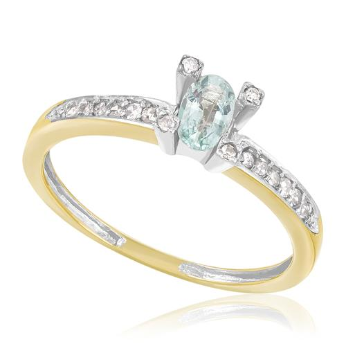 Anel com Diamantes totalizando 12 Pts. e Turmalina Paraíba de 20 Pts., em Ouro Amarelo