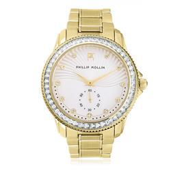 Relógio Feminino Phillip Kollin Malta Gold White Ref ZY28047H Dourado