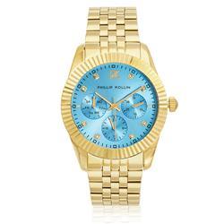 Relógio Feminino  Phillip Kollin Bali Gold Blue Ref ZY28065A Dourado