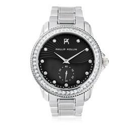 Relógio Feminino Phillip Kollin Malta Silver Black Ref ZY28047T Prata