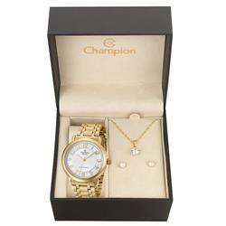 Relógio Feminino Champion Passion CN29945W Kit Colar e Par de Brincos