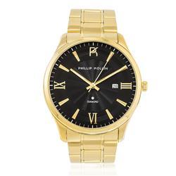 Relógio Feminino Phillip Kollin St. Maarten Glam Diamond Gold Blue ZY20009A Dourado