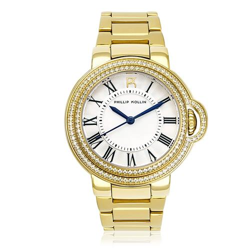 Relógio Feminino Phillip Kollin Malta Gold White ZY28136H Dourado