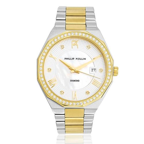 Relógio Feminino Phillip Kollin St. Maarten Diamond Mixed Gold White ZY28163S