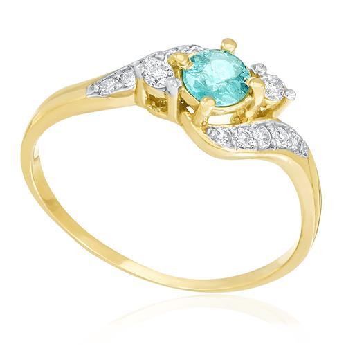 Anel com Diamantes totalizando 20 pts. e Turmalina Paraíba de 25 pts., em Ouro Amarelo