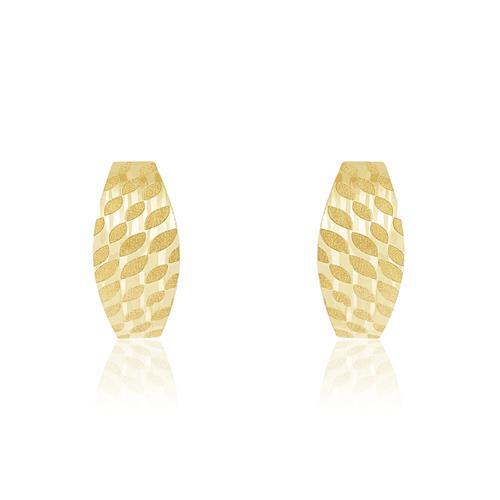 Par de Brincos Meia Argola com detalhes Acetinados, em Ouro Amarelo