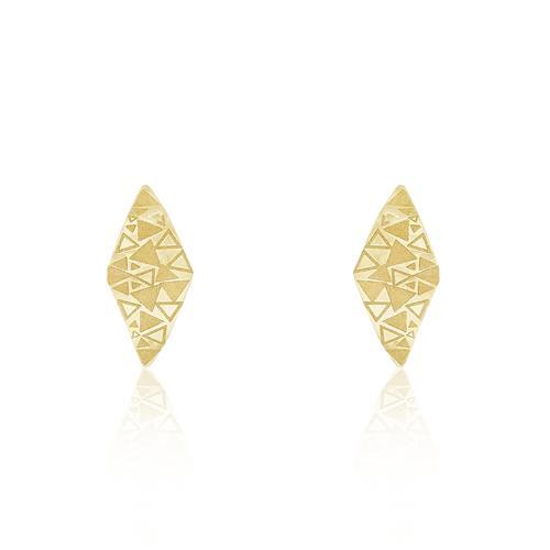 Par de Brincos com formas triangulares, em Ouro Amarelo