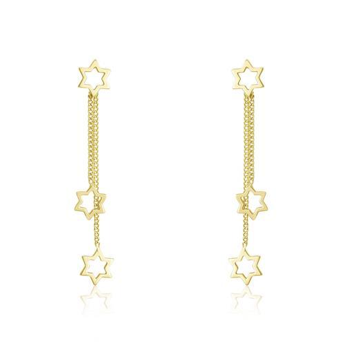 Par de Brincos Estrelas Vazadas, em Ouro Amarelo