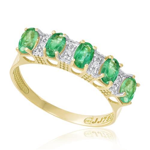 Meia Aliança com 4 Diamantes e 5 Esmeraldas Totalizando 1,1 Cts., em Ouro Amarelo