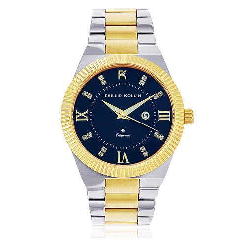 Relógio Feminino Phillip Kollin St. Maarten Royalty Diamond Mixed Gold Blue ZY28056A