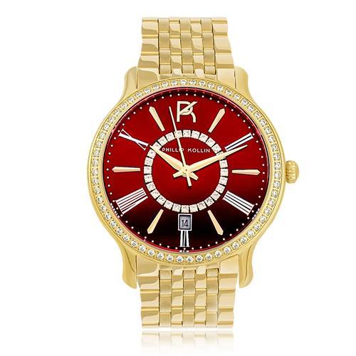 Relógio Feminino Phillip Kollin Calabria Gold Red ZY28038V Dourado