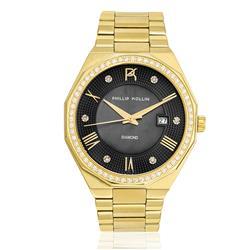 Relógio Feminino Phillip Kollin St. Maarten Diamond Gold Black ZY28163U Dourado