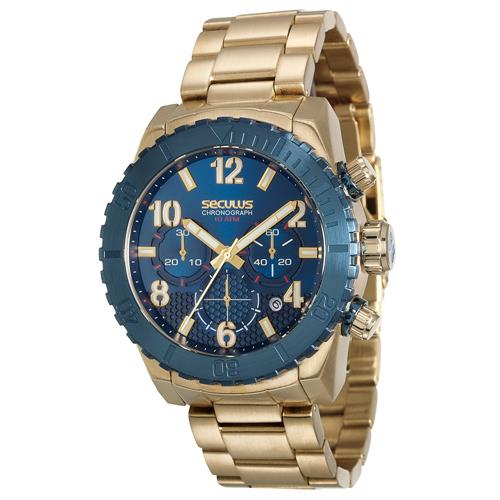 Relógio Masculino Seculus Chronograph 13011GPSVLA1 Dourado