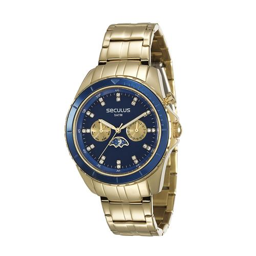 Relógio Feminino Seculus Dia e Noite Analógico 28709LPSVDA1 Dourado