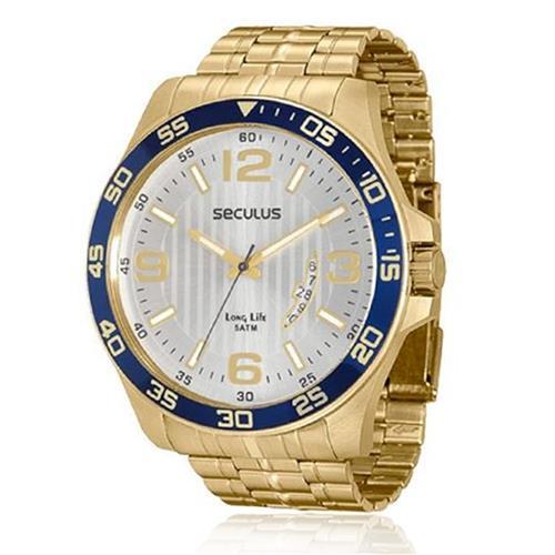Relógio Masculino Seculus Long Life 28739GPSGDA4 Dourado