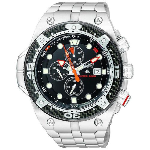 Relógio Masculino Citizen Eco-Drive Aqualand Carbon TZ30339D Aço