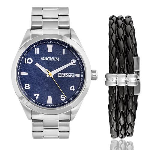 Relógio Masculino Magnum Analógico MA34923O Kit com Pulseira