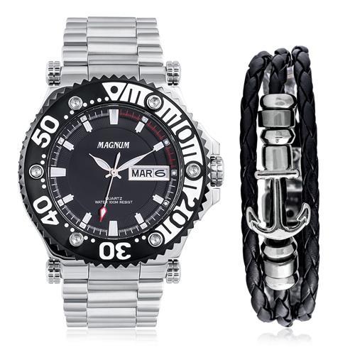 Relógio Masculino Magnum Analógico MA32149C Kit com Pulseira