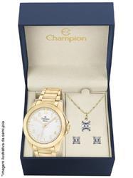 Relógio Feminino Champion Elegance CN27483W Kit Colar e Par de Brincos