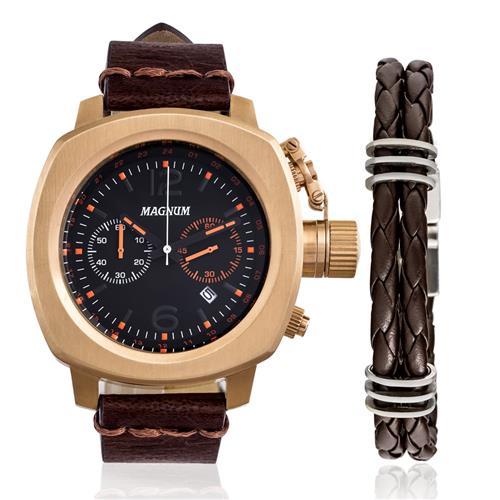 Relógio Masculino Magnum Analógico MA34129C Kit com Pulseira