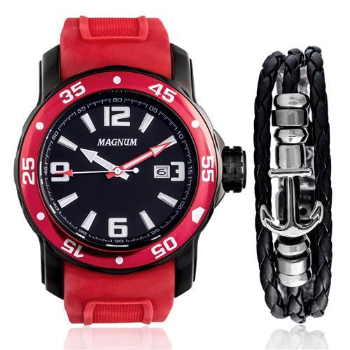 Relógio Masculino Magnum Analógico MA31908Z Kit com Pulseira