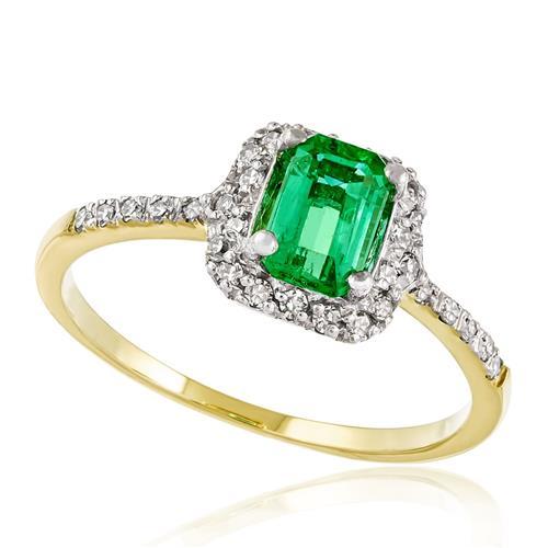 Anel com Diamantes totalizando 20 pts e Esmeralda de 90 pts., em Ouro Amarelo