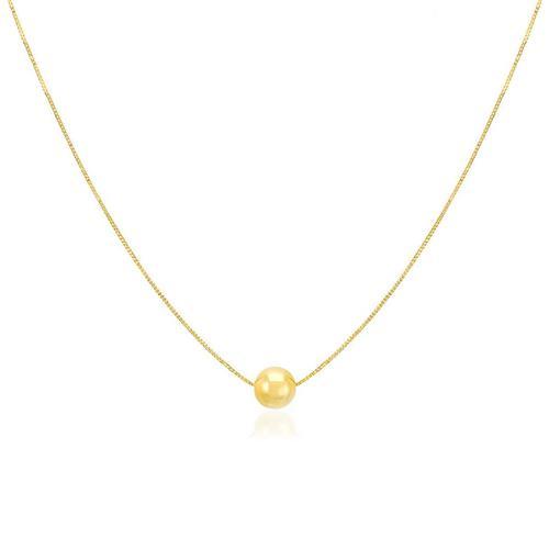 Gargantilha com Pingente Esfera, em Ouro Amarelo