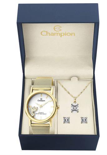Kit Relógio Champion Analógico CH25838W Feminino - Dourado