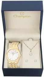 Relógio Feminino Champion CN25378W  Kit Colar e Par de Brincos