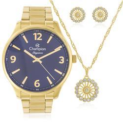 Relógio Feminino Champion CN26206K Kit Colar e Par de Brincos
