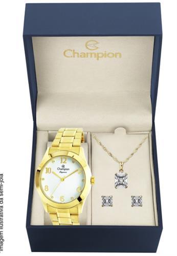 Relógio Feminino Champion CN26911W Kit Colar e Par de Brincos