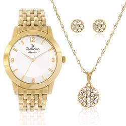 Relógio Feminino Champion CN26840W Kit Colar e Par de Brincos