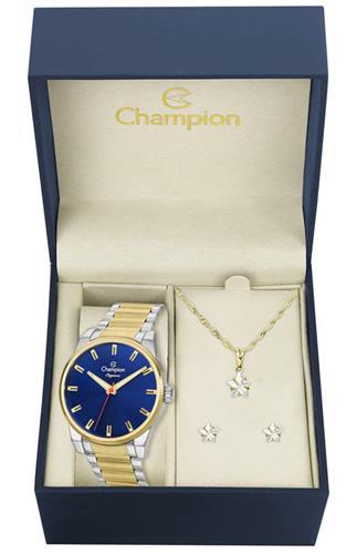 Relógio Feminino Champion Elegance CN27590K Kit Colar e Par de Brincos