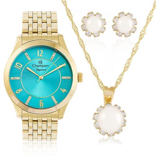 Relógio Feminino Champion Elegance CN27698Y Kit Colar e Par de Brincos