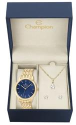Relógio Feminino Champion Elegance CN27732K Kit Colar e Par de Brincos