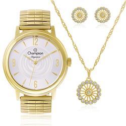 Relógio Feminino Champion Elegance CN27867W Kit Colar e Par de Brincos