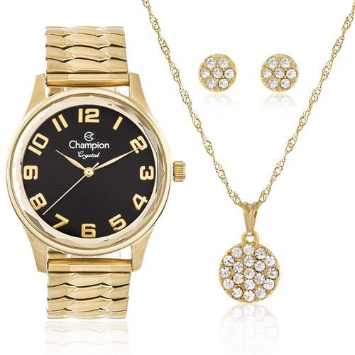 Relógio Feminino Champion Elegance CN27885E  Kit Colar e Par de Brincos