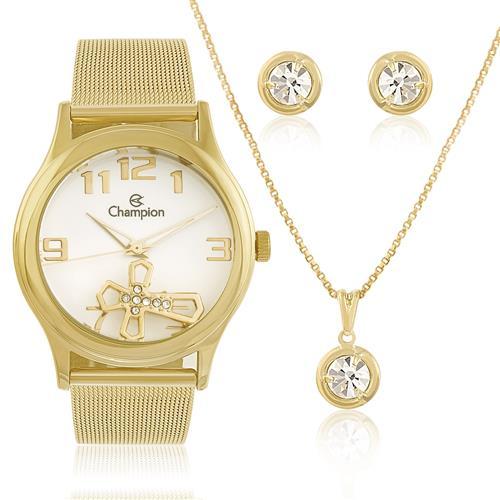 Relógio Feminino Champion Elegance CN28491W  Kit Colar e Par de Brincos
