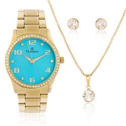 Relógio Feminino Champion Elegance CN29089Y  Kit Colar e Par de Brincos