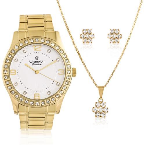 Relógio Champion Passion  Kit CN29187W Colar e Par de Brincos  49775