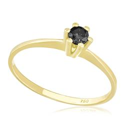 Anel Solitário com Diamante Negro de 10 pts., em Ouro Amarelo